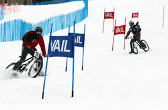 Teva Dual Slalom Bike. Preeminent mountain bikers combine precision with pure guts in this all-out speed descent on Vail Mountain's Golden Peak. This head-to Royalty Free Stock Images