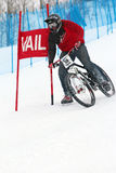 Teva Dual Slalom Bike. Preeminent mountain bikers combine precision with pure guts in this all-out speed descent on Vail Mountain's Golden Peak. This head-to Royalty Free Stock Photos