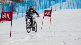 Teva Dual Slalom Bike. Vail, Colorado-February 2012: 2012 Winter TEVA Mointain Games Royalty Free Stock Image