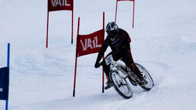Teva Dual Slalom Bike. Vail, Colorado-February 2012: 2012 Winter TEVA Mointain Games Stock Photo