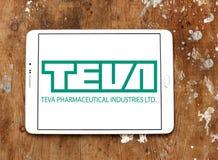 Teva pharmaceutical company logo. Logo of pharmaceutical company teva on samsung tablet on wooden background Royalty Free Stock Images