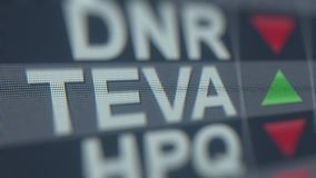 TEVA PHARMACEUTICAL INDUSTRIES ADR TEVA stock ticker, conceptual editorial loopable animation