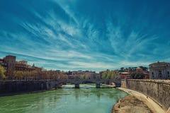 Tever河向罗马 库存照片