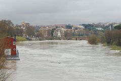 Tevere during the flood Royalty Free Stock Photography