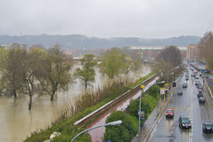 Tevere during the flood. The street of Rome and the river during the flood Royalty Free Stock Photos