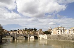 Tevere river rome. View of tevere river rome, italy royalty free stock image