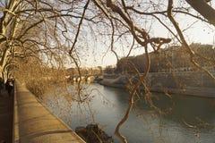 Tevere in Rome. Tevere River Tiberis in Rome, Italy Stock Photography
