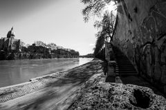Tevere  Tiber  River. In Rome , Roma Italy during day Royalty Free Stock Image