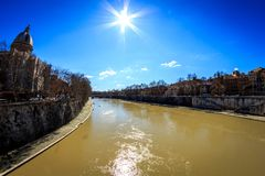 Tevere  Tiber  River. In Rome , Roma Italy during day Stock Photos