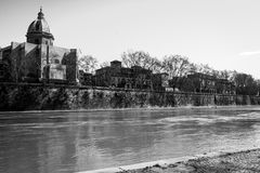 Tevere  Tiber  River. In Rome , Roma Italy during day Royalty Free Stock Images