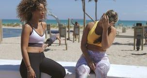 Tevreden multi-etnische vrouwen in sportkleding op kust stock footage