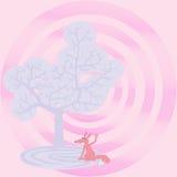 Tevreden vos onder de boom van het leven doodle Royalty-vrije Stock Foto