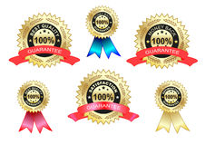 tevredenheid en beste geplaatste kwaliteitsetiketten Stock Foto