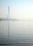 Tewel on misty sea coast Stock Photo