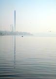 Tewel on misty sea coast Stock Photo