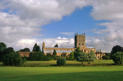 Tewkesbury Abbey, Gloucestershire, England. This is the Abbey of the blessed virgin Mary, at Tewkesbury, in Gloucestershire. It is now the second largest parish Stock Photos