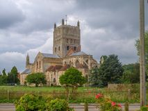 Tewkesbury Abbey. Picture taken on a cloudy september day. View from the public car park Stock Photo