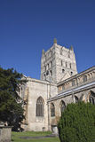 Tewkesbury abbey tower and grave yard Royalty Free Stock Image