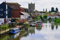 Tewkesbury. Junction of the rivers severn and avon at Tewkesbury Tewksbury gloucestershire uk uk, riverside, england, severn, architecture, river, western, blue Stock Photography