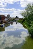 Tewkesbury. Junction of the rivers severn and avon at Tewkesbury Tewksbury gloucestershire uk uk, riverside, england, severn, architecture, river, western, blue Royalty Free Stock Images