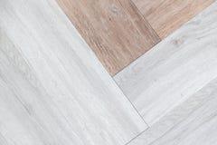 Tex абстрактной предпосылки 2 тонов белое и коричневое деревянное настила Стоковое Фото