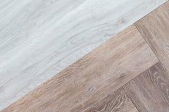 Tex абстрактной предпосылки 2 тонов белое и коричневое деревянное настила Стоковые Фотографии RF