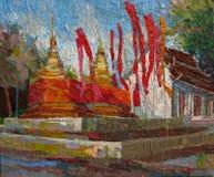 Tex acrílico dourado da pintura a óleo das bandeiras vermelhas do pagode do templo de Tailândia ilustração stock