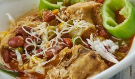 Tex-Mex Chicken Stew. Slow Cooker Tex-Mex Chicken Stew, Tex-Mex cuisine, Traditional assorted dishes, Top view stock photos