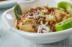 Tex-Mex Chicken Stew. Slow Cooker Tex-Mex Chicken Stew, Tex-Mex cuisine, Traditional assorted dishes, Top view stock photography