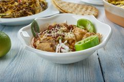 Tex-Mex Chicken Stew. Slow Cooker Tex-Mex Chicken Stew, Tex-Mex cuisine, Traditional assorted dishes, Top view royalty free stock photos