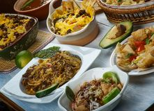 Tex-Mex. Cuisine, Traditional assorted dishes, Top view stock photo
