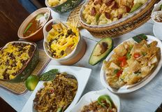 Tex-Mex. Cuisine, Traditional assorted dishes, Top view stock image