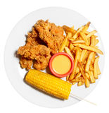 Tex-mex dish. Hot chicken, potato chips and sweet corn isolated with clipping path stock photo