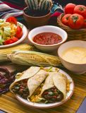 Tex Mex Food. Burritos. Tex Mex Food. Mexican burritos served with hot chili sauce and cheese dip Stock Photos