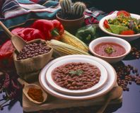 Tex Mex Food. Mexican Pinto Beans. Tex Mex Food. Mexican pinto beans with hot chili sauce Royalty Free Stock Images