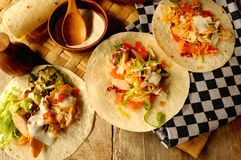 Tex mex food mexican tacos or burritos tortillas Royalty Free Stock Photo