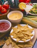 Tex Mex Food. Nachos tortilla chips. Tex Mex Food. Mexican nachos chips served with hot chili sauce and cheese dip Stock Photography