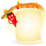 Tex Mex restaurant Banner. Illustration of a cartoon red hot chili pepper holding mexican food menu Stock Photo