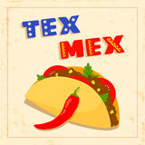 Tex mex taco on white background Royalty Free Stock Images