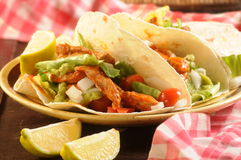 Tex mex tacos or tortillas from mexico background Stock Photography