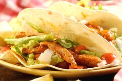 Tex mex tacos or tortillas from mexico background Royalty Free Stock Photo