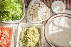 Tex mex tortilla table Royalty Free Stock Photography