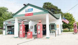 Texaco garage restored at Dwight Illinois USA. Royalty Free Stock Photography
