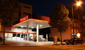Texaco gas station at night. Brussels, Belgium Royalty Free Stock Photos