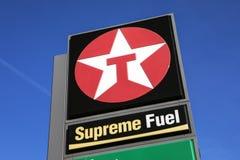 Texaco Petrol Station. Kent, UK - February 21st 2019: The Texaco logo at a Texaco petrol filling station in Kent, England royalty free stock photo