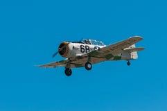 AT-6 Texan met Purpere/Gele Neus langs Vliegen Stock Afbeelding