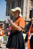 Texan Pro-Choice Protestor. A young woman performing at a protest against a Senate Bill that would strictly regulate abortion in the state of Texas. July 1, 2013 stock photography