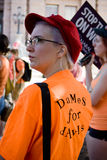 Texan Pro-Choice Protestor. A young woman at a protest against a Senate Bill that would strictly regulate abortion in the state of Texas. She is wearing an stock photo