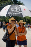 Texan Pro-Choice Protestors. Two women at a protest against a Senate Bill that would strictly regulate abortion in the state of Texas. They are holding a royalty free stock photo