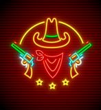 Texan western cowboy hat with guns neon sign. Texan western hat with guns. Neon signboard for bar or club. Wild West neon sign with nighttime illumination. EPS10 Stock Image